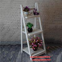 欧式实木白色折叠花架 落地式多层木制花架 置物阶梯花架