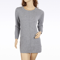 羊绒衫女士加大码套头圆领纯色中长款打底衫秋冬装时尚毛衣礼品礼物