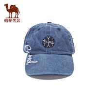 骆驼男装 秋季新款圆顶棉质休闲做旧男士帽子出游无詹帽