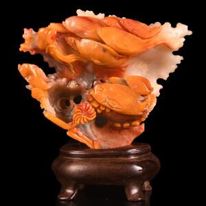 《年年有余摆件》结晶寿山石取巧全手工精雕寓意吉祥