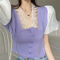 苏希莉2021夏季新款蕾丝边拼接修身显瘦法式气质泡泡短袖针织衫女上衣PQS530