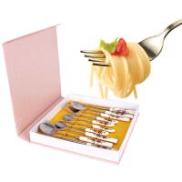 结婚礼物 红玫瑰骨瓷勺筷套装礼盒10件套 礼品餐具筷子勺子叉子陶瓷不锈钢组合圆筷骨瓷筷便携方便餐具