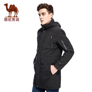 骆驼男装 2017年冬季新款连帽拉链无弹纯色休闲中长款男青年棉服