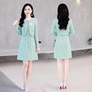 女新款韩版百搭气质优雅时尚镂空中长款连衣裙两件套