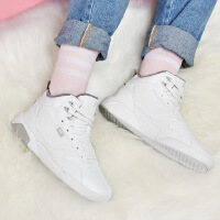 【低价直降,2件折上再打9折】361度女鞋运动鞋秋季白色高帮加绒板鞋厚底韩版休闲鞋