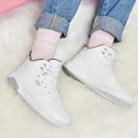 【满100减50】361度女鞋运动鞋秋季白色高帮加绒板鞋厚底韩版休闲鞋