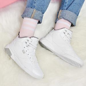 361度女鞋运动鞋秋季白色高帮加绒板鞋厚底韩版休闲鞋