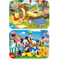 【当当自营】迪士尼拼图玩具 100片铁盒木质拼图二合一(米奇2421+维尼2422)