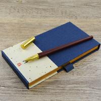 红木签字笔 黄铜紫檀木拼接水笔 可更换笔芯红木笔 定制生日礼物笔