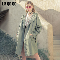 Lagogo2019年秋季新款文艺连帽单排扣外套女喇叭袖风衣ICFF217D33