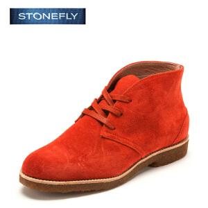 【3折到手价140.7元】STONEFLY/斯通富来冬季绒面牛皮系带休闲户外平跟舒适短靴女鞋SD44110833