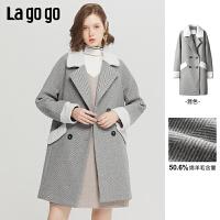 Lagogo/拉谷谷2019冬季新款双排扣格纹毛呢外套女ICDD229C53