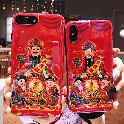 财神爷手机壳苹果X/XR/XsMax蓝光iPhone7plus硅胶软壳8plus全包防摔6s个性男女款潮