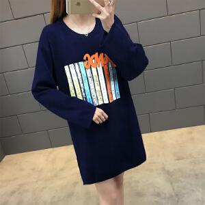 新款针织衫女韩版潮宽松学生百搭中长款