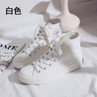 变色高帮帆布鞋女紫外线2019秋季韩版百搭学生小白鞋潮 白色 8592白色(高帮) 35