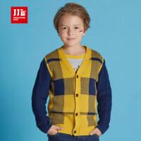 季季乐男童毛衣2106新款开衫毛衣中大童时尚V领格子长袖上衣童装BQM61178