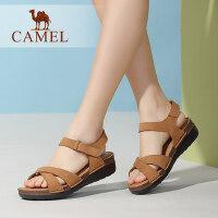 camel骆驼女鞋 夏季新款 坡跟厚底 魔术贴中跟凉鞋女夏