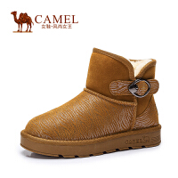 Camel/骆驼情侣靴 二层磨砂牛皮圆头平跟新款舒适雪地靴