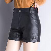2017秋季新款中年女士水洗PU皮女秋冬中腰皮皮裤时尚显瘦 黑色
