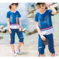 韩版时尚童装女童户外新款儿童休闲百搭运动套装10短袖9-11周岁12大童13女孩15