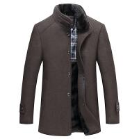 男士秋冬季立领呢子大衣男中年加厚保暖中长款毛呢外套毛领爸爸装