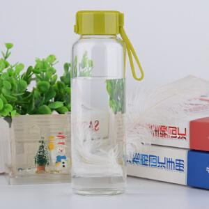 高硼硅玻璃水杯耐热玻璃杯便携带盖杯子带杯绳茶杯