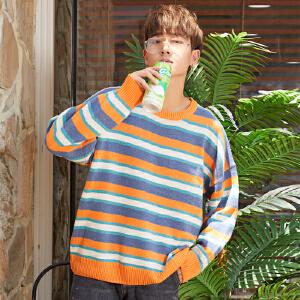 【买了都说好】冬季条纹毛衣男bf风韩版宽松长袖ulzzang潮流外套学生港风针织衫