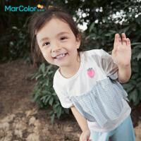 �R卡�吠��b2021夏季新款女童全棉甜美�W�拼接短袖�A�IT恤