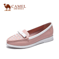 Camel骆驼女鞋 春季新款舒适圆头摔纹牛皮蝴蝶结水钻低跟单鞋