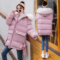 孕后期宽松连帽中长款韩版加厚棉袄大衣冬季孕妇棉衣外套