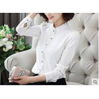 百搭打底衬衣新款高领立领白衬衫韩版蕾丝雪纺衫女士长袖  可礼品卡支付