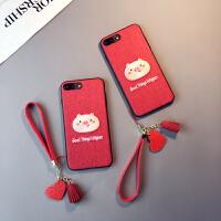 红色刺绣猪款iphone6s plus手机壳苹果Xs max本命年8情侣7挂绳女XR六七八软胶套保护套防摔新日韩pon