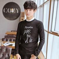 秋冬季韩版潮学生套头圆领打底针织衫青少年个性帅气印花男士毛衣
