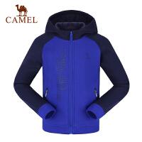 camel骆驼秋冬季男童开胸带帽微弹卫衣儿童加厚拉链外套