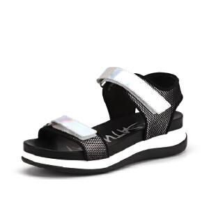 【3折到手价149.7元】St&Sat/星期六牛皮凉鞋中跟搭扣松糕鞋凉鞋SS62118181
