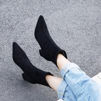 秋冬粗跟单靴尖头短靴女高跟弹力靴小码32 大码-后拉链女靴