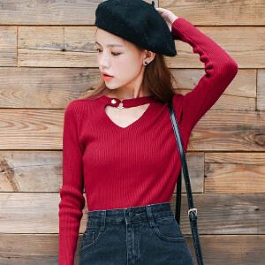 2017秋装新品韩版修身百搭V领钮扣长袖毛织针织衫打底衫女装上衣