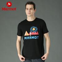 Marmot/土拨鼠新款运动户外男士舒适吸湿棉质短袖T恤