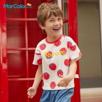 马卡乐童装男童短袖T恤2021年夏新款纯棉撞色领口亲肤柔软上衣潮