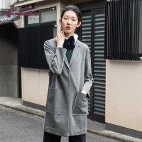 生活在左2019秋季女装新品深灰色宽松显瘦中长款小西装外套女时尚