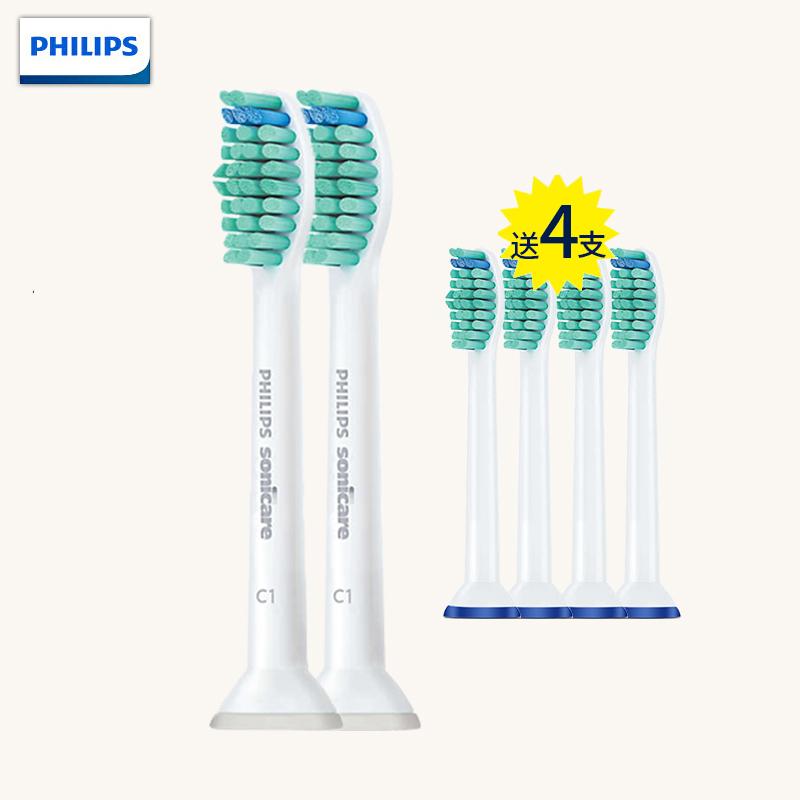 飞利浦(PHILIPS)电动牙刷头 HX6011 两支装 适用HX3120/3216/3226/HX6511/HX6730等系列型号 标准型牙刷头