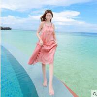 海边度假大码无袖裙系带大摆连衣裙雪纺粉色沙滩裙吊带中长款挂脖可礼品卡支付