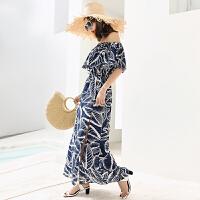 女装2018新款潮雪纺连衣裙波西米亚沙滩裙海边度假裙子长裙女 蓝底树叶