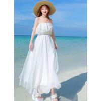 一字领抹胸露肩性感 新款 小香风白色长裙显瘦修身海边度假沙滩裙女 支持礼品卡