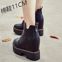 马丁靴女英伦单鞋季韩版百搭内增高女鞋高跟短靴子女潮 黑色短靴(偏瘦) 2011-2短靴