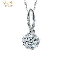 梦克拉 18k金钻石吊坠 花苞 挂坠 花瓣 群镶钻坠 k金钻石挂坠 女款项坠 穿梭