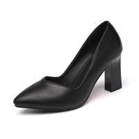 高跟鞋女鞋2019正装鞋子黑色中跟秋季皮鞋粗跟单鞋职业工作鞋