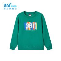 【折后叠券预估价:65】361度童装男童长袖加绒套头卫衣2021年春季新品中大童运动上衣 西湖绿 130cm