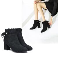冬季【甜美蝴蝶结】新款百搭方头短筒时装靴舒适粗跟增高布