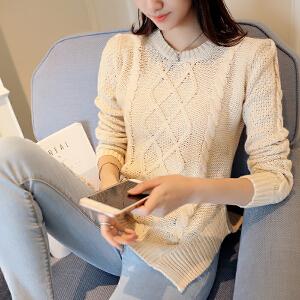 2018秋冬新款高领毛衣女韩版套头长袖宽松针织打底衫百搭加厚